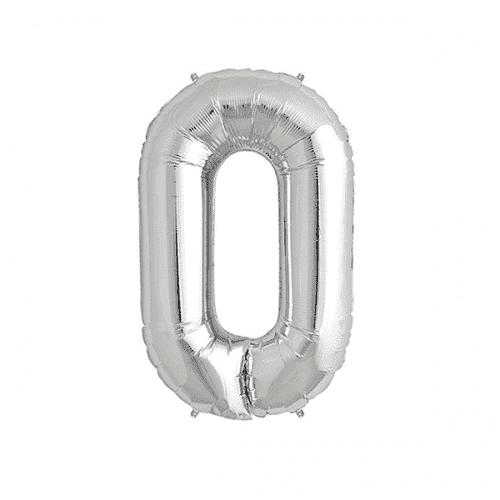 Балон цифра 0 Сребро 40см.