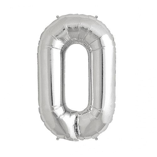Балон цифра 0 Сребро 80см.