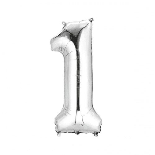 Балон цифра 1 Сребро 40см.