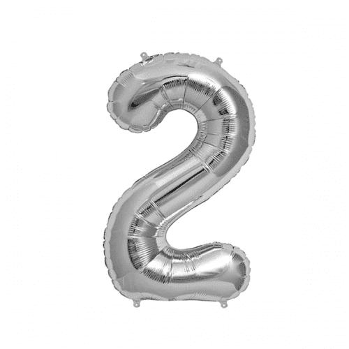 Балон цифра 2 Сребро 40см.