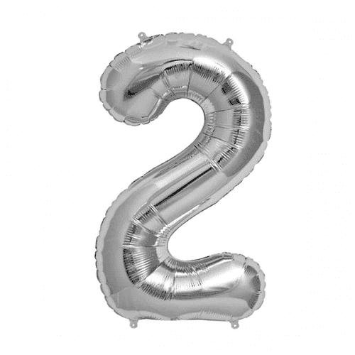 Балон цифра 2 Сребро 80см.