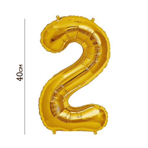 Балон цифра 2 Злато 40см.