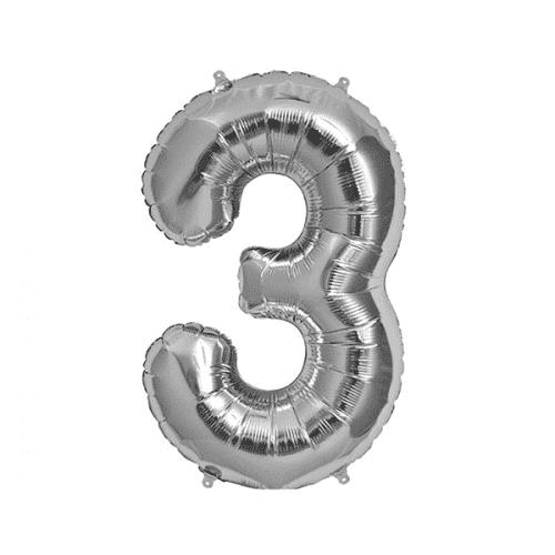 Балон цифра 3 Сребро 40см.