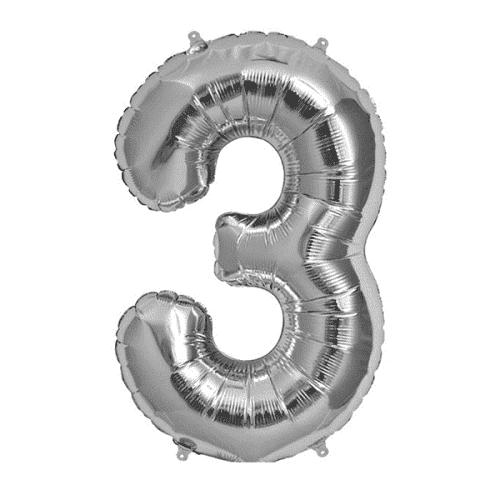 Балон цифра 3 Сребро 80см.