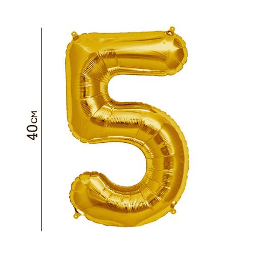 Балон цифра 5 Злато 40см.