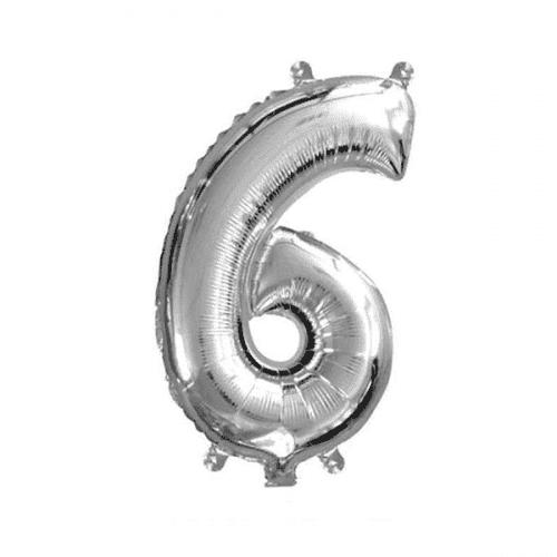Балон цифра 6 Сребро 40см.