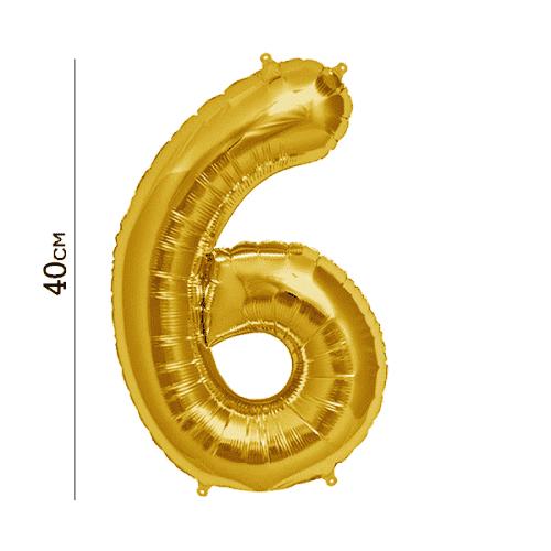 Балон цифра 6 Злато 40см.