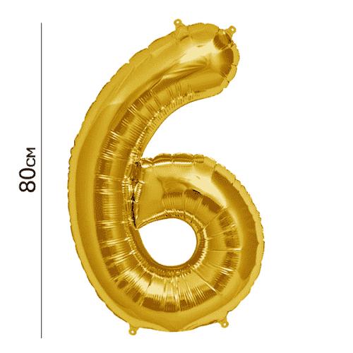 Балон цифра 6 Злато 80см.