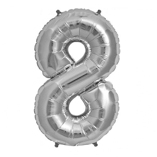 Балон цифра 8 Сребро 80см.
