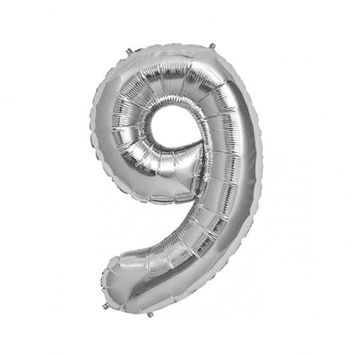 Балон цифра 9 Сребро 40см.