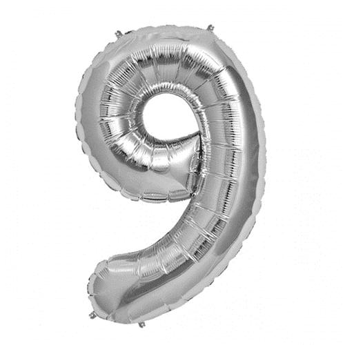 Балон цифра 9 Сребро 80см.