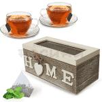 """Дървена кутия за чай,кафе """"Home"""""""