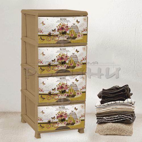 "Пластмасов шкаф с четири чекмеджета ""Roses"""