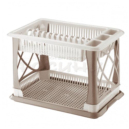 Пластмасов сушилник за чинии и прибори на две нива