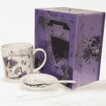 """Порцеланова чаша с лъжичка и чинийка """"Beautiful""""/чаши за топли напитки"""