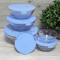 Стъклени купи с капак 5бр./купа за съхранение на храна