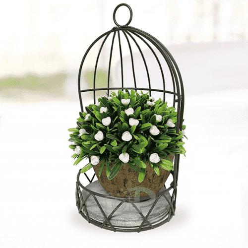 Клетка за закачане с кашпа/декорация за дома и градината