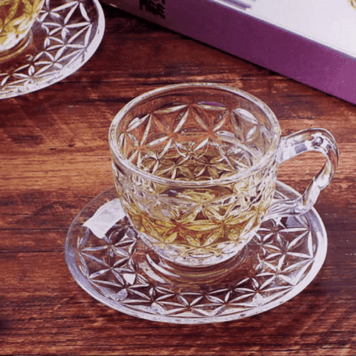 """Стъклени чаши с чинийки за топли напитки """"Cherry""""/сервиз за кафе"""