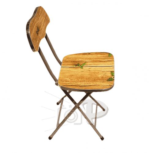 Метално,сгъваемо столче с дървесен декор