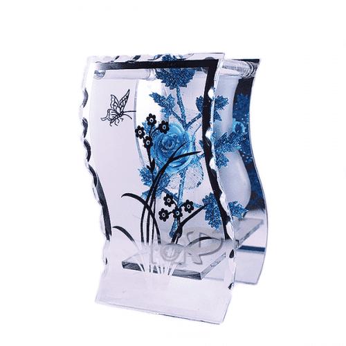 Стъклена ваза на стойка 18см.
