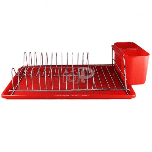 Цветен сушилник за чинии на един етаж с поставка за прибори