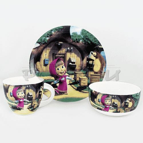 Детски сервиз за хранене  3 части/комплект чиния,купа,чаша