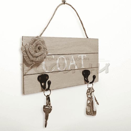 Дървена закачалка за стена с две куки