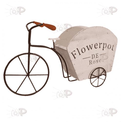 Метално колело с дървена кашпа за декорация