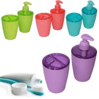 Цветен комплект за баня-дозатор и поставка за четки и паста