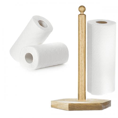 Дървена поставка за кухненска хартия/държач за кухненска ролка
