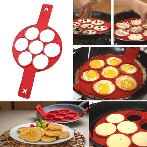 Силиконова форма за пържене на  яйца и палачинки 7-ца