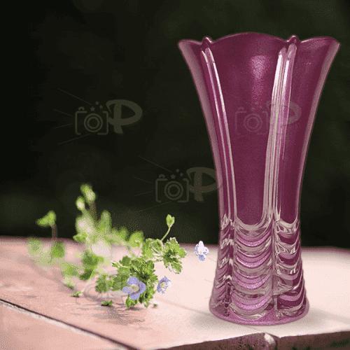 """Лилава,стъклена ваза 24см. """"Rosini"""""""