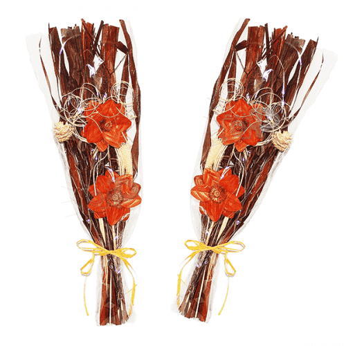 Декоративен букет сухи цветя в целофан 65см.