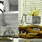 Декоративно колело с бяла,дървена кашпа