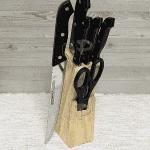 Комплект 5бр. ножове и ножица на дървена стойка