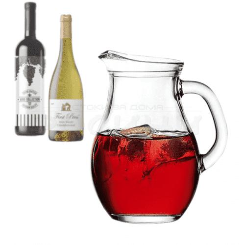 Стъклена кана за вода,сок,вино 1л. Pasabahce