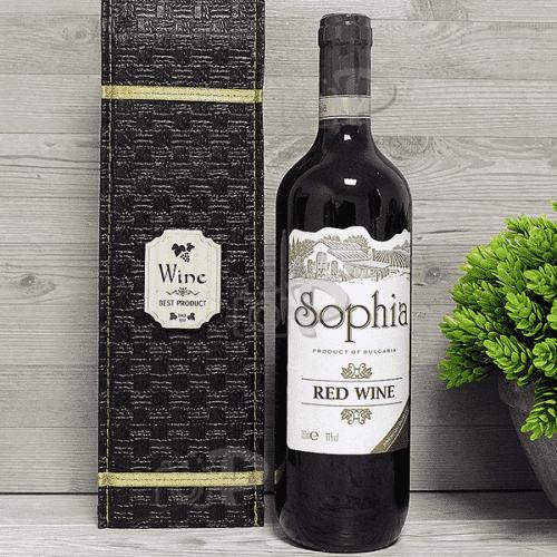 Сувенир бутилка вино в кожена кутия 750мл./подаръчен комплект