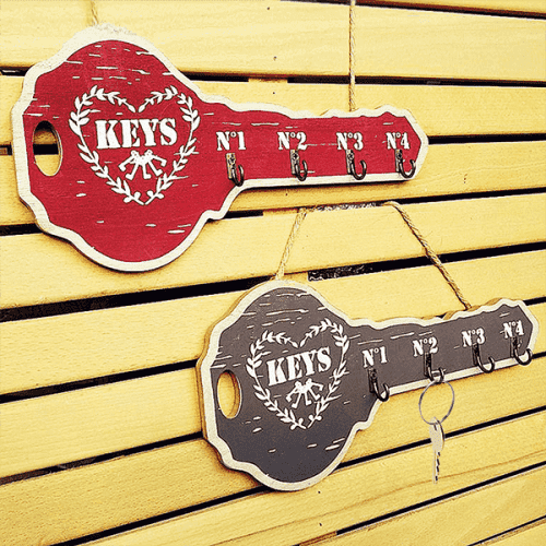 Дървена поставка за стена с 4 куки/закачалка за ключове KEYS