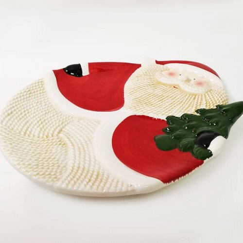 Керамично,коледно плато  Дядо Коледа