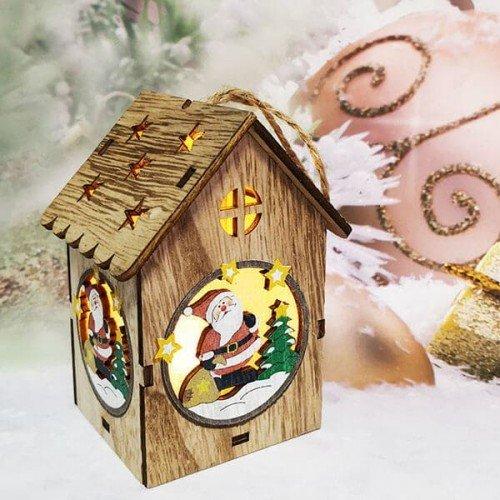 Дървена,коледна Къщичка с лампичка