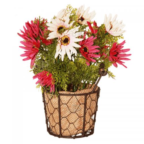 Изкуствено цвете в метална кашпа 17см.