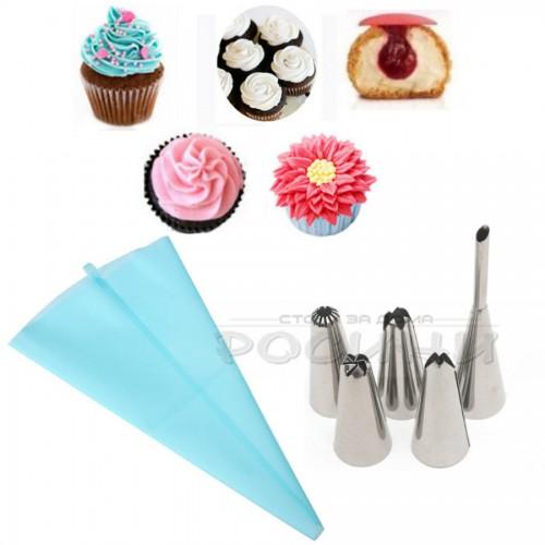 Комплект 5 броя метални накрайника + Пош за декорация на торти и кексчета