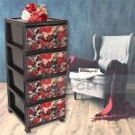 Пластмасов шкаф с четири чекмеджета Роза