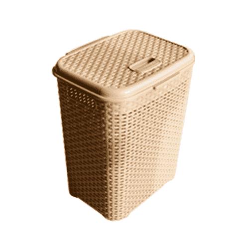 Плетен кош за пране в бежов цвят с капак/кошове за дрехи