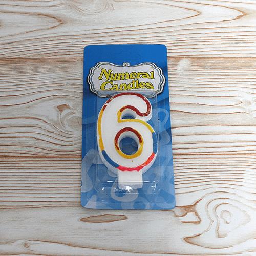 Свещ цифра 6 за рожден ден/свещи за торта числа
