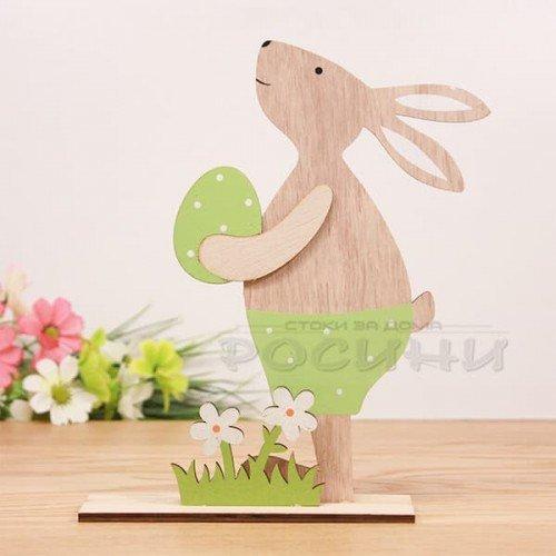 Великденски дървен заек с яйце/голям