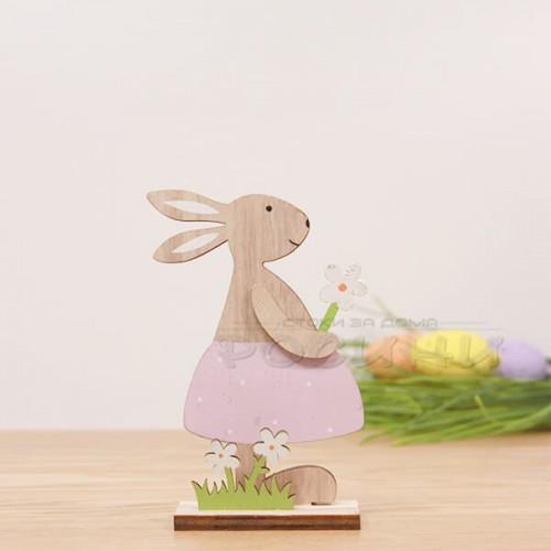 Великденски дървен заек с цвете/малък