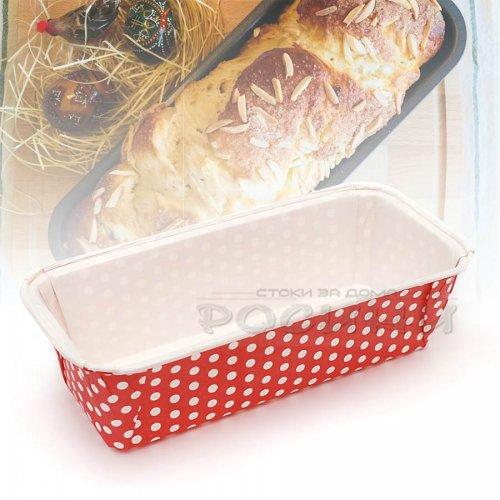 Хартиена форма за печене на козунак, хляб, руло Червена 23 см.