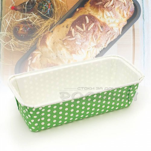 Хартиена форма за печене на козунак, хляб, руло Зелена 23 см.