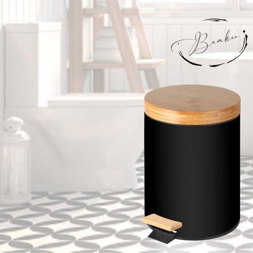 Кош с педал и бамбуков капак с плавно затваряне 5 л. Черен